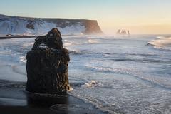 Reynisfjara beach (Arnaud Grimaldi) Tags: iceland islande reynisfjara dyrhólaey black sand beach sunrise winter january vík í mýrdal reynisdrangar