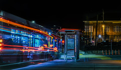 balboa park station muni transfer (pbo31) Tags: sanfrancisco city california nikon d810 night dark color march 2018 urban boury pbo31 blue muni bus stop balboapark outermission genevaavenue lightstream roadway traffic motion black motionblur missionterrace