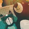12 / 52 : 1 (Randomographer) Tags: 52weeks stuffed toy animal cuddle fabric sewn textile digital art partners crime mask dog bear processed photoshop plushtoys stuffedanimals plushies snuggies stuffies fun 12 52 2018