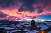 snow of march (lucafabbricesena) Tags: snow winter valmarecchia pennabilli emiliaromagna marche italy sunset march village monalisasbackdrop nikon d800 cloudysky church towerbell snowy valley evening architecture mountain appennino italia pink clouds township