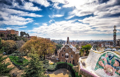 view of the city from central terrace (Aaron_Choi) Tags: landscape architecturaldetail architecture barcelona beauty bench catalonia centralterrace city court destination espana europe european famous gaudi greektheater greektheatre guardhouse guardpark landmark mainterrace marble marbled nature park peaceful scene scenery scenic serpentine serpentinebench snake spain spanish summer terrace tiled tourism travel vast view viewpoint