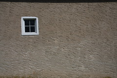 One Window (Jen_Vee) Tags: stirlings barn house window structure tan stucco frame paint white building old historic storage minimal simple square