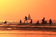 Bathing & sailing at sunset - Tel-Aviv beach - Follow me on Instagram:  @lior_leibler22 (Lior. L) Tags: bathingsailingatsunsettelavivbeach bathing sailing sunset telaviv beach telavivbeach israel