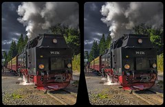 Harzer Schmalspurbahn 3-D / CrossView / Stereoscopy / HDR / Raw (Stereotron) Tags: sachsenanhalt saxonyanhalt ostfalen harz mountains gebirge ostfalia hardt hart hercynia harzgau locomotive dampflok train zug historic railway steam europe germany deutschland crosseye crosseyed crossview xview cross eye pair freeview sidebyside sbs kreuzblick 3d 3dphoto 3dstereo 3rddimension spatial stereo stereo3d stereophoto stereophotography stereoscopic stereoscopy stereotron threedimensional stereoview stereophotomaker stereophotograph 3dpicture 3dglasses 3dimage twin canon eos 550d yongnuo radio transmitter remote control synchron kitlens 1855mm tonemapping hdr hdri raw
