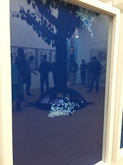 Reflection of art lovers and tree on Munem Wasif's gorgeous cyanotype cartographies of rice (olive witch) Tags: abeerhoque art bangladesh bd day dhaka feb18 february gallery indoors painting