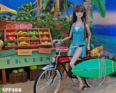 Do What You Love: Surf (APPark) Tags: dolls fashionroyalty 16scale dioramas sininthecity hobbies surfing beach hawaii fruitstand summer bicycle tropical miniatures rement orcara surfergirl ooakgiselle nuface