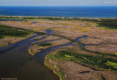 Marshes, Cape Hatteras National Seashore (looking east towards NC Highway 12 and the Atlantic Ocean) (PhotosToArtByMike) Tags: outerbanks capehatterasnationalseashore obx aerialview marshes dunes sanddunes bodieisland northcarolina nc outerbanksnorthcarolina bodieislandmarshes usnationalparkservice darecounty marsh