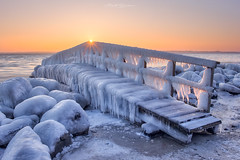 The Frozen Bridge II (Matt Rimkus Photography) Tags: schleswigholstein morning balticsea winter jetty bridge sunrise ice lübeck deutschland de