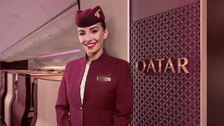 Qatar Airlines interior aircraft welcome shot