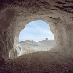 journey to the center of the earth. mojave desert, ca. 2018. (eyetwist) Tags: eyetwistkevinballuff eyetwist abandoned pumice mine mining industry landscape mamiya 6mf kodak portra 160 mamiya6mf kodakportra160 50mm mamiya50mmf4l ishootfilm analog analogue film emulsion mamiya6 square 6x6 mediumformat 120 filmexif iconla lenstagger epsonv750pro ishootkodak mojave desert california mojavedesert highdesert derelict dust dirt wasteland americanwest dutchcleanser elpasomountains hollyash talc portral mouth shaft underground digging