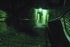 "Geneva, Switzerland: ""Descent"" (rocinante11) Tags: night stairs green dark switzerland sweiss geneva film filmcamera slidefilm canona2e longexposure timesexposure ambient ambientlight"