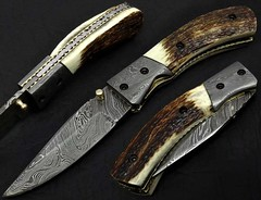 Damascus Steel Folding Knife Stag Handle (knivesgulf) Tags: knife knives folding hunting skinner chef cleaver hatchet axe fulltang handmade stag bone