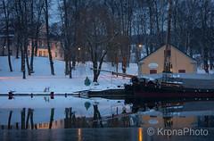 Night reflections of Tønsberg, Norway (KronaPhoto) Tags: 2018 tønsberg vinter norway refleksjon reflection mirror water ice snow snø winter landscape landskap seascape building teie hovedgård boats båt cold season
