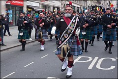 St Patrick's Day, London - DSCF0389a (normko) Tags: london west end saint patrick stpatrick spd day 2018 irish festival parade ireland green maine usa pipe band public safety police kilt
