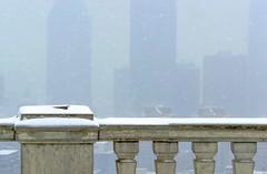 Montréal jour de brouillard et de neige / Day of fog and snow (cébé céline) Tags: montréal hiver neige paysage profondeurdechamps belvédère montroyal espace température pluie brouillard horizon balustrade skyscraper fog rain temperature space mont royal depth field landscape snow winter montreal building cébécéline city