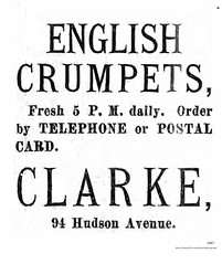 Clarke's bakery  Crumpet ad  1887  94 Huson (albany group archive) Tags: old albany ny vintage photos picture photo photograph history historic historical engish 1880s