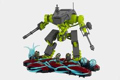 Patrol (thebrickbin) Tags: lego afol moc mecha mech sci fi science fiction space military alien planet plants dark grey lime green