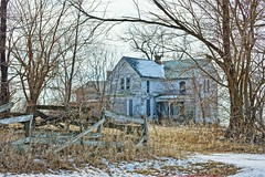 As Memories Fade...... (chumlee10) Tags: old farm house gate trees grass il illinois stephensoncounty