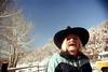 1a-217 (ndpa / s. lundeen, archivist) Tags: nick dewolf nickdewolf photographbynickdewolf 1977 1970s color 35mm film 1a reel1a aspen colorado fall autumn snow november rockymountains foxhunt hunt woodycreek woodycreekhounds roaringforkvalley man youngman hat cowboyhat mustache moustache blond blonde longhair smile smiling parka roaringforkhunt roaringforkhounds