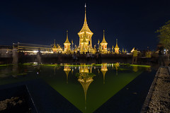 The Royal Crematorium for King RAMA IX (baddoguy) Tags: ancient civilization architecture asia awe backgrounds bangkok beauty bhumibol adulyadej blue built structure capital cities construction site cremation crematorium dark dead expense gold colored history horizontal king thailand love emotion majestic night outdoors pagoda photography precious gem reflection royal person royalty sanam luang park sky thai culture twilight wat phra kaeo water