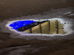 Blue Butt Reflections (Magic Pea) Tags: urban farringdon reflection water butt cigarette photo photography magicpea london puddle blue road