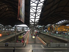 Interstate and inter-town trains, Southern Cross Station, Spencer Street, Melbourne, Australia (sustainablejill) Tags: train transport travel station melbourne australia steel roof skylight tracks platform railway
