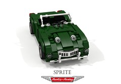 Austin Healey 'Frog-eye' Sprite MkI - 1958 (lego911) Tags: austin healey sprite mki 1958 1950s classic gb british britain brg racing green roadster convertible auto car moc model miniland lego lego911 ldd render cad povray frog frogeye