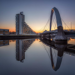 Arc (raymond_carruthers) Tags: clydearc apartments bridge river riverclyde reflections architecture squintybridge scotland sunset glasgow