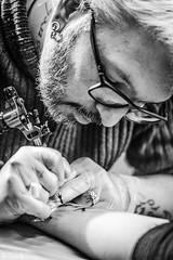 Concentration (N-Lock) Tags: harmony tattoo tatouage pic photo photographer photographe portrait aiguille tatoo nb bw rueil malmaison lock nell france canon 760d tamron 60mm f2