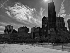 Skyline (ancientlives) Tags: chicago illinois il usa travel trips skyline skyscrapers city cityscape towers architecture buildings johnhancock thedrake beach oakstreetbeach fence clouds bluesky blackandwhite bw mono monochrome monday march 2018 winter