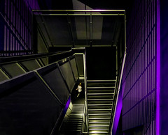 Going Down (Steve Taylor (Photography)) Tags: art digital architecture building museum steps stairs purple black metal woman lady uk gb england greatbritain unitedkingdom london shiny reflection perspective pattern vigenette sciencemuseum staircase