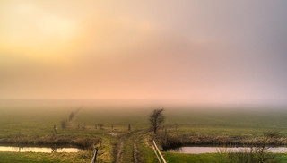 Foggy sunset at 't Huys te Nuwendore.