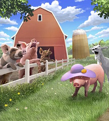 Melody's Hat (Jeremy Norton) Tags: illustration childrens books childrensillustration stories painting pigs farm
