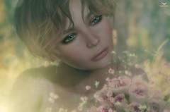 Brianna~Meadow in Springtime (Skip Staheli *FULLY BOOKED*) Tags: skipstaheli secondlife sl avatar virtualworld dreamy digitalpainting spring flowers briannaberesford portrait closeup roses meadow sun lensflare bokeh