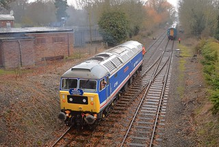 Loco 47596 running around its train at Wymondham Loop, in preparation for the 15.00 return to Dereham. Mid Norfolk Railway Spring Diesel Gala. 16 03 2017