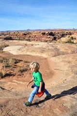 Everett On The Slickrock Trail (Joe Shlabotnik) Tags: nationalpark utah hiking 2017 justeverett canyonlands everett november2017 canyonlandsnationalpark afsdxvrzoomnikkor18105mmf3556ged