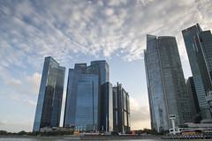 Blue sky banking. (miketonge) Tags: bank marinabay singapore tall buildings bay glass skyscrapers
