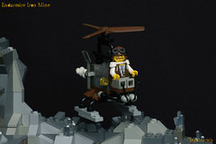 24_Endarmire_Iron_Mine (LegoMathijs) Tags: lego moc legomathijs steampunk mine miners mining rocks iron ore steampowered drones tracked driller flying discovery vehicle explorer speeder transporter transport airship clockwork drone speeders walking steamcopters pickaxe tools crates shaft cranes workshop gears cave docks
