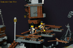 11_Endarmire_Iron_Mine (LegoMathijs) Tags: lego moc legomathijs steampunk mine miners mining rocks iron ore steampowered drones tracked driller flying discovery vehicle explorer speeder transporter transport airship clockwork drone speeders walking steamcopters pickaxe tools crates shaft cranes workshop gears cave docks