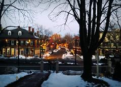 Salem Twilight through Our Window (blamstur) Tags: twilight dusk lights trees salem massachusetts themerchant