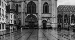 Gigantism (Joseph Trojani) Tags: cathedral church cathédrale eglise sens bourgogne city ville yonne religion nikon d750 centreville place black white blackandwhite noir blanc noirblanc parvis forecourt pluie rain
