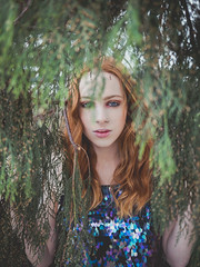 The glitter within (Vincent F Tsai) Tags: portrait fashion art model girl beauty beautiful nature natural red blue green tree redhead ginger young spring panasonic lumixg20mmf17 lumixgx8