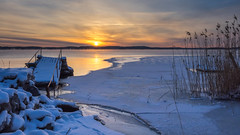 Winter Morning (Jens Haggren) Tags: morning sun sunrise sky clouds sea snow ice rocks jetty reed landscape seascape view nature nacka sweden olympus em1 jenshaggren
