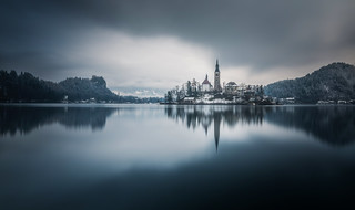 Lake Bled on a dark winter day