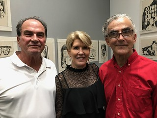 Artist Emilio Cianfoni with wife Debbie and journalist George Fishman at the Bernice Steinbaum gallery opening.