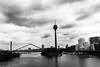 When The Storm Comes (Abdalis_3k60) Tags: nikon d7500 dusseldorf cityscape bridge rheinturm rheintower rhein river water blackandwhite