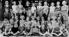 Class Photo (theirhistory) Tags: children boys kids school class form girls teacher slate jumper shirt shoes dress skirt wellies wellingtonboots shorts