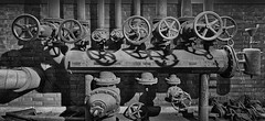 Zeche Zollverein - Ventilräder / Valve Wheels (chrisar676) Tags: ruhrgebiet workshop zollverein industriefotografie ventilrad industrie zechezollverein canon aurorahdr2018 sw unterverteiler canoneos5dmarkiii bergbau innenraum interior affinityphoto schatten rohre dampfdruck zeche lightroom6 luminar2018 eos hdr essen coalmine highdynamicrange ventilräder bw blackandwhite blackwhite schwarzweis shadow shadows valvewheel valvewheels denkmalpfad memorialpathzollverein denkmalpfadzollverein canonef1635mmf4lisusm