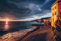 Camogli (FButzi) Tags: genova genoa italy italia camogli liguria tramonto sunset clouds sky dark nuvole spiaggia beach sea mare