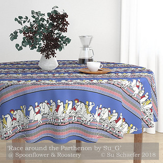 Design Challenge Entry: 'Race around the Parthenon' in a tablecloth mockup